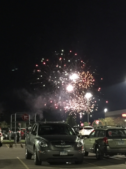 We watched the fire works in a target parking lot...I wish I made that up.