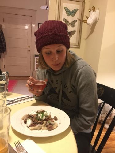 Kimchi enjoying her first Koldunai, Lithuanian dumpling experience