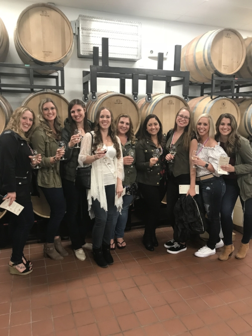 Olivia's bachelorette weekend, wine tasting