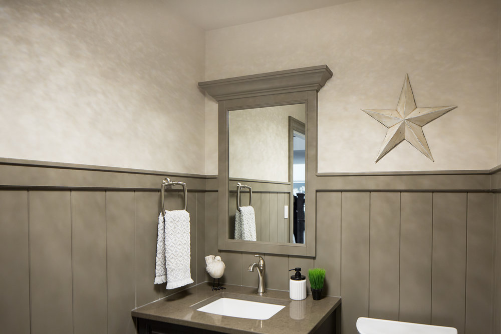 Powder room with wainscotting