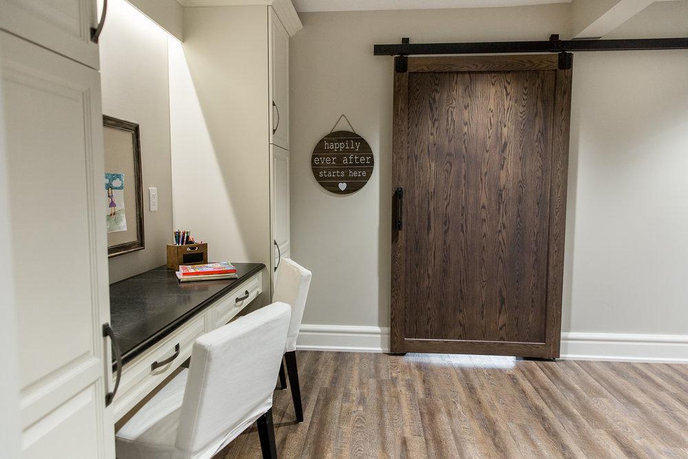 Barn door in craft room
