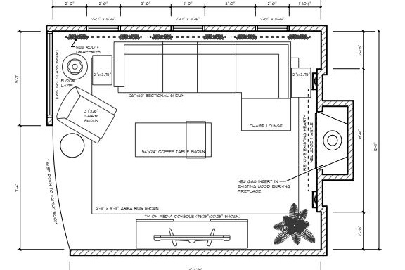 3. Floor Plan - We will provide you with a scaled drawing showing suggested furniture placement and set up. Kitchen and Bath designs will also include all required elevation drawings, based on your provided measurements.** Kitchen & Bath E-Design only available where projects will be within the same footprint. **