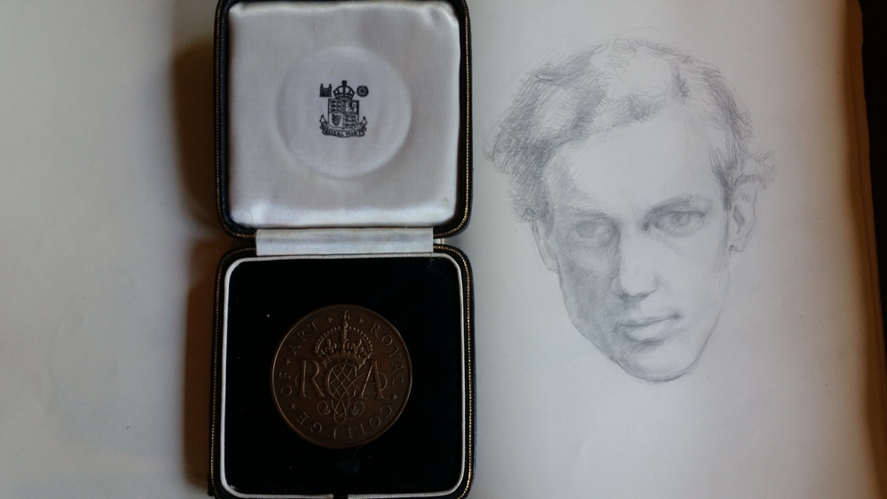 Medal awarded to A.D. for Work of Special Distinction, 1954 (left), Selft portrait from sketchbook, 1951 (right)