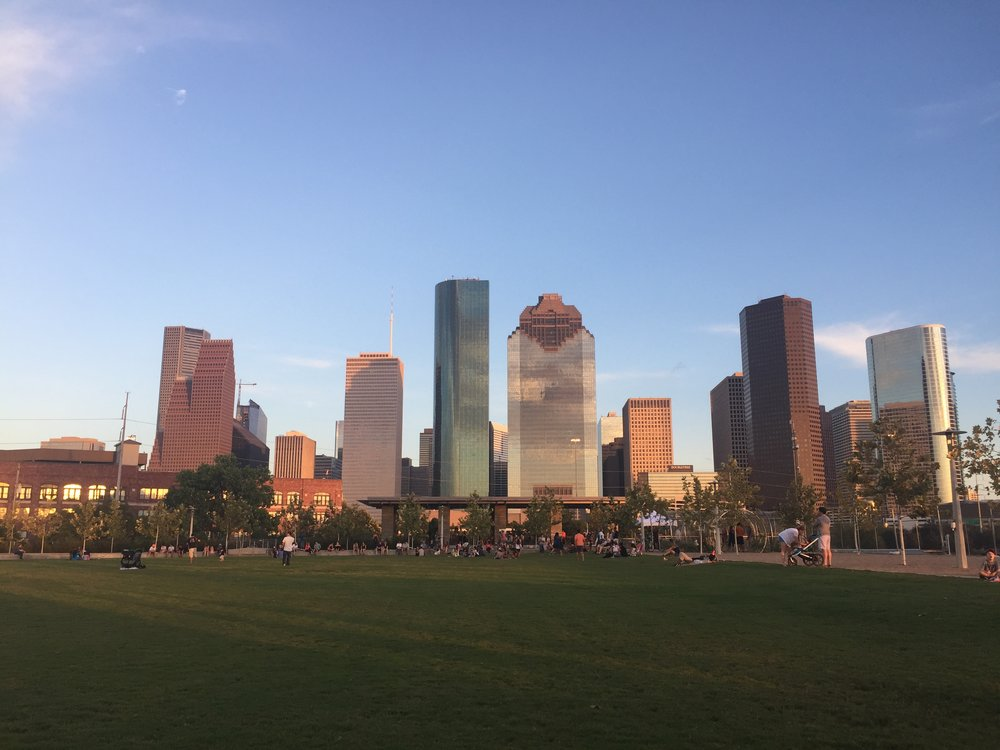 Houston Skyline photo- on top of the Lee and Joe Jamail Skate Park off of Sabine Street. (photo taken by: me)