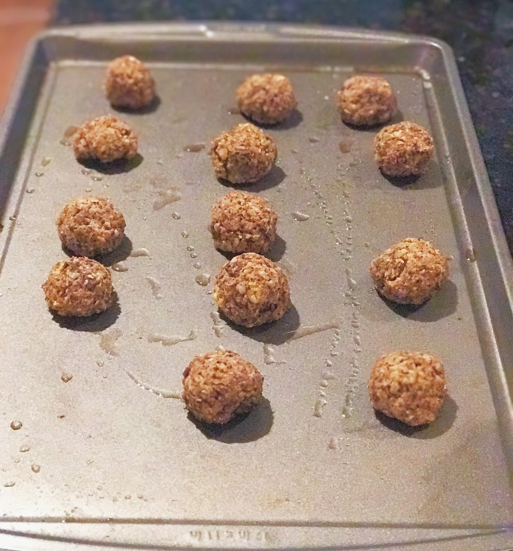 """How the finished mushroom ''meat""""balls look after 30 mins of baking at 375."""