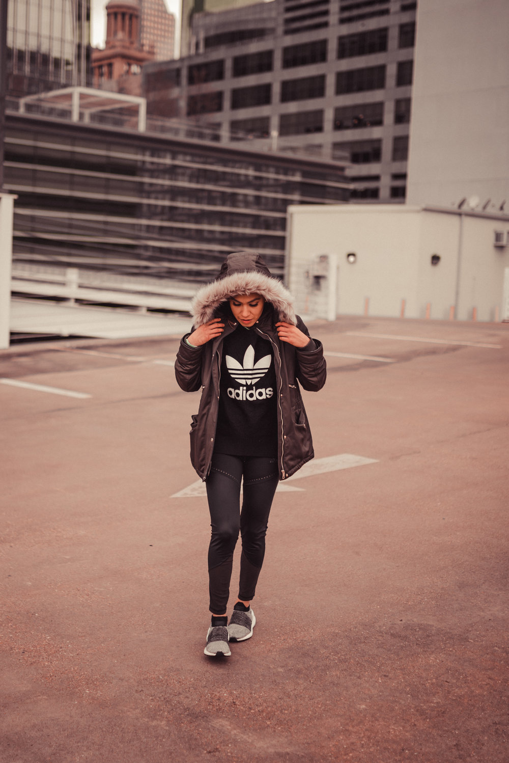 All photos taken by: Fredis Benitez ( @fredis_B)   outfit: tights, shoes, trefoil sweater, long sleeve tee (all by Adidas); jacket ( by zara)