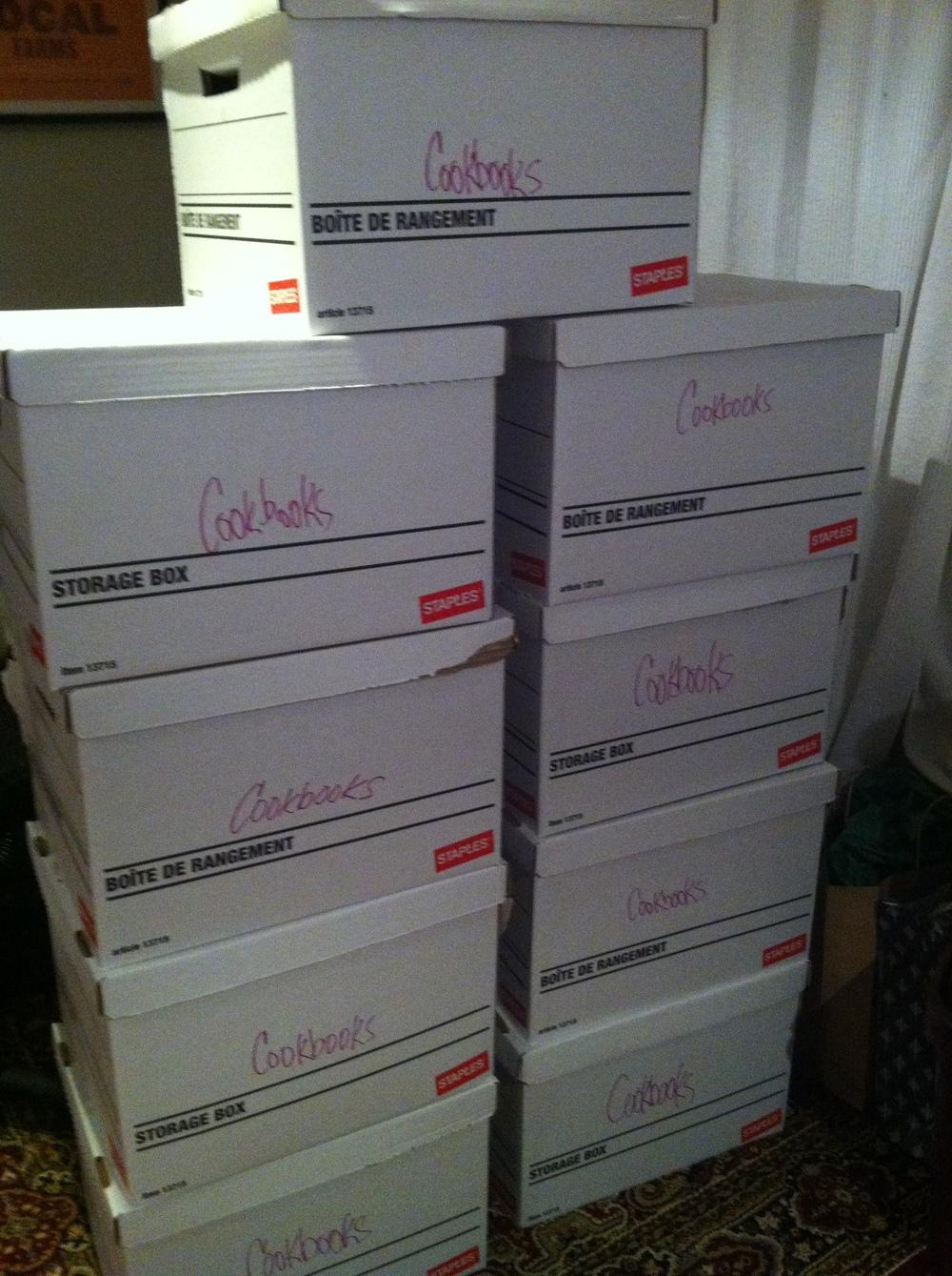 my cookbooks on their way to a storage pod