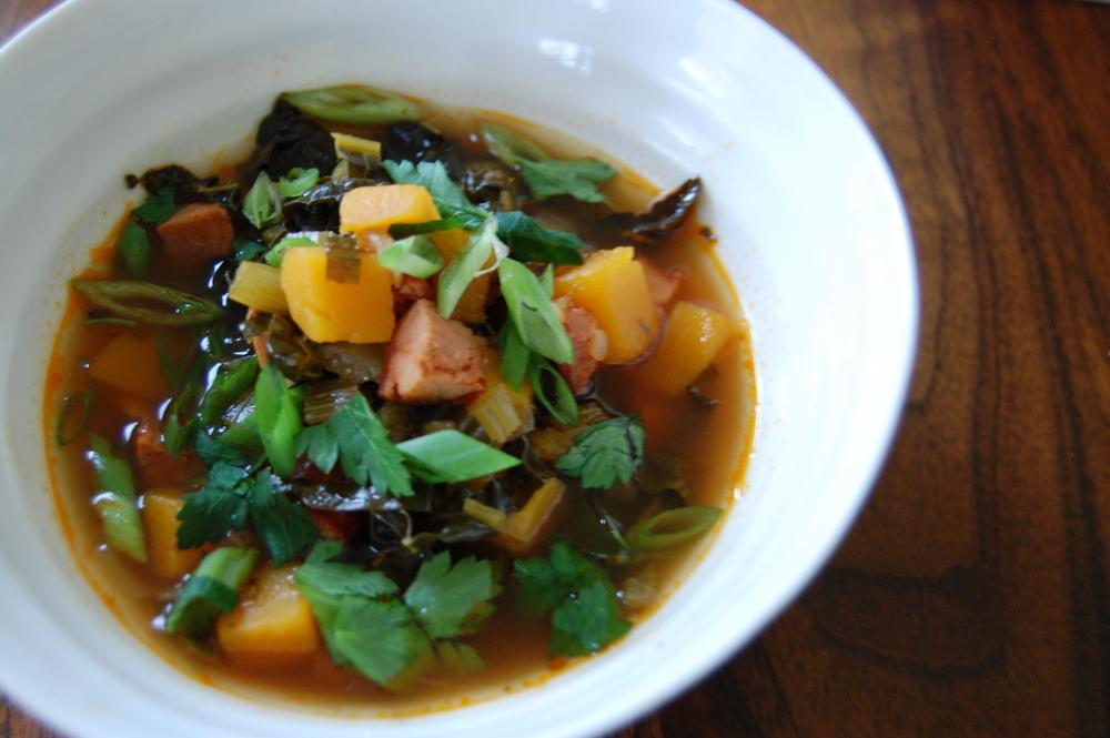 smoky chorizo, kale + squash soup