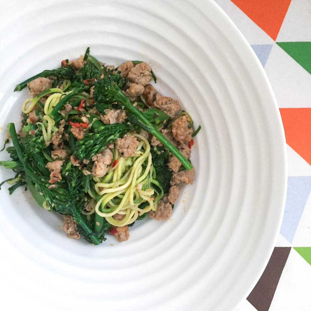 spicy broccolini and sausage zucchini noodles