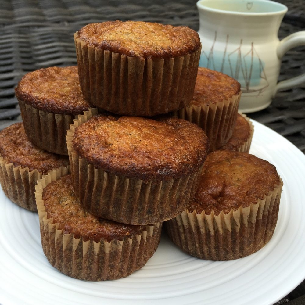 banana chocolate chip cassava flour muffins