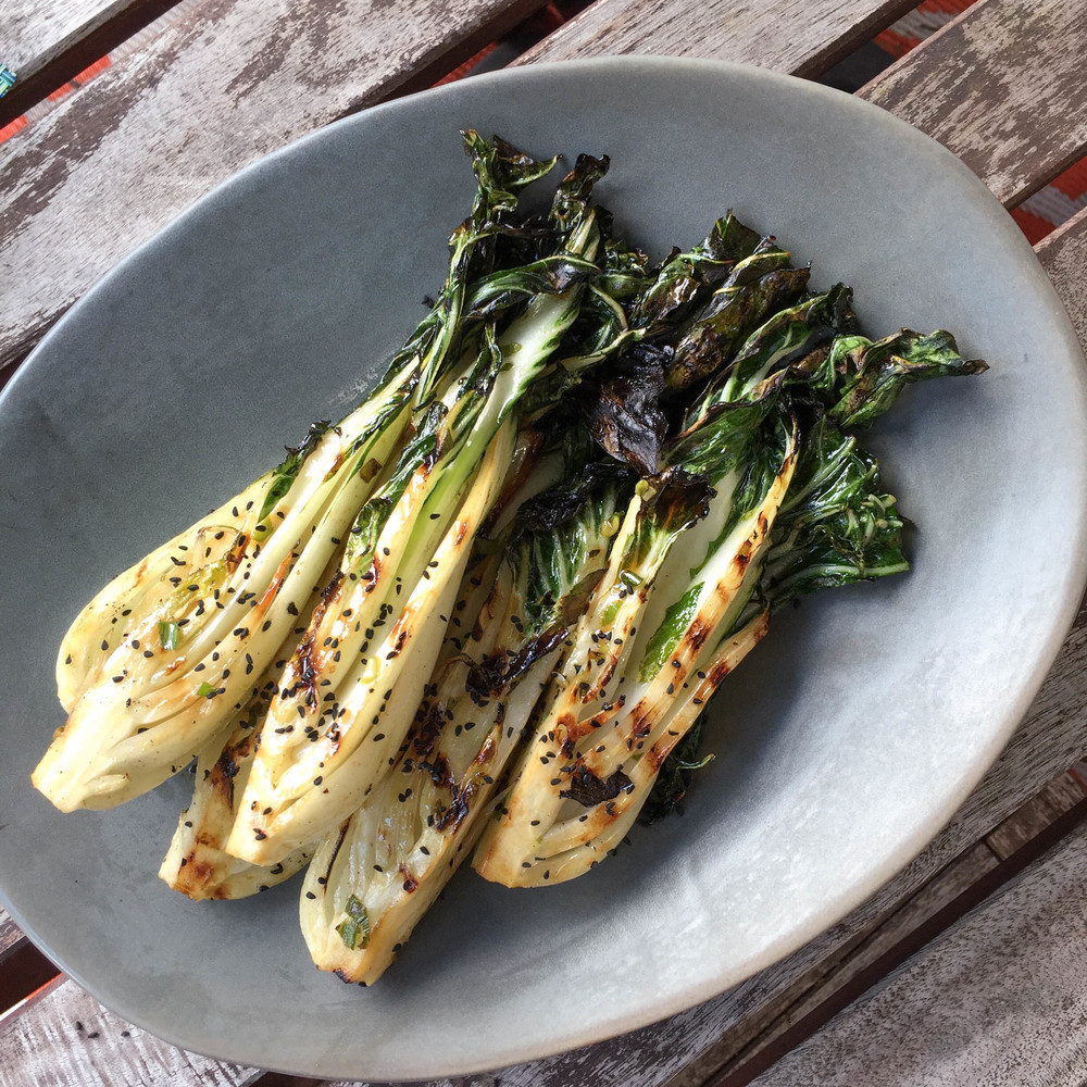 sesame maple grilled bok choy