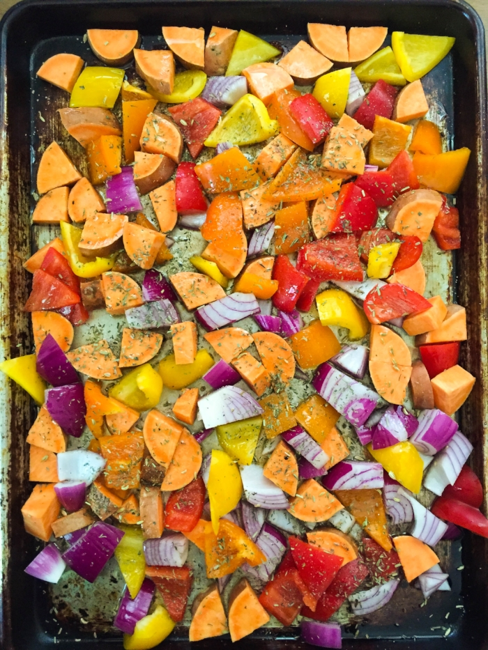 sweet potato pepper tray bake