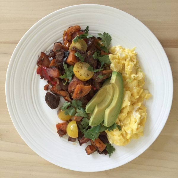 sweet potato pepper tray bake breakfast