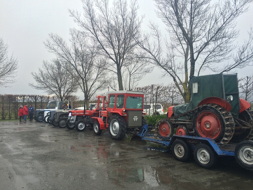 The tractor on the trailer is a replica of the machines Sir Ed took to the pole.