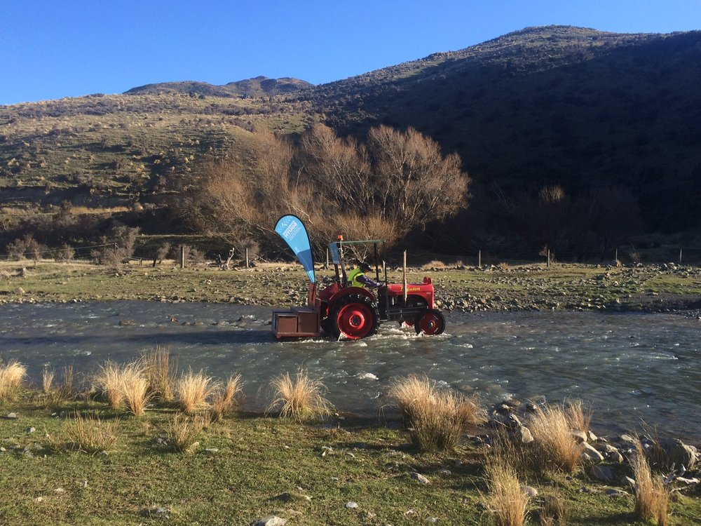 Fording a river on the farm