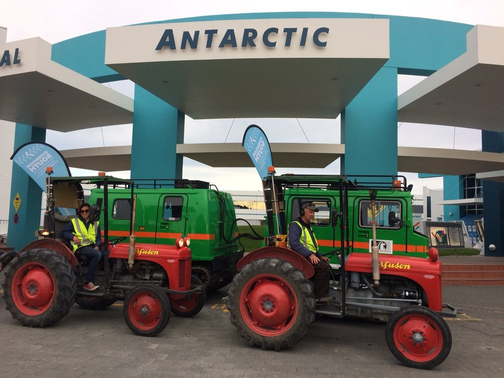 We dropped by the International Antarctic Centre. The tractors are parked up next to a Hägglunds - a vehicle that is used around Scott Base.
