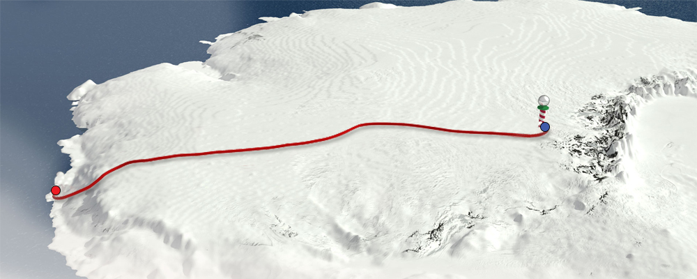 If the Expedition South team were travelling from Scott Base to the South Pole, this would be our current location!