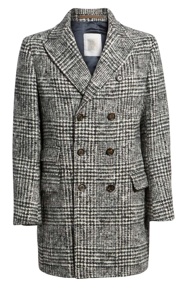 Houndstooth Wool Blend Peacoat ELEVENTY