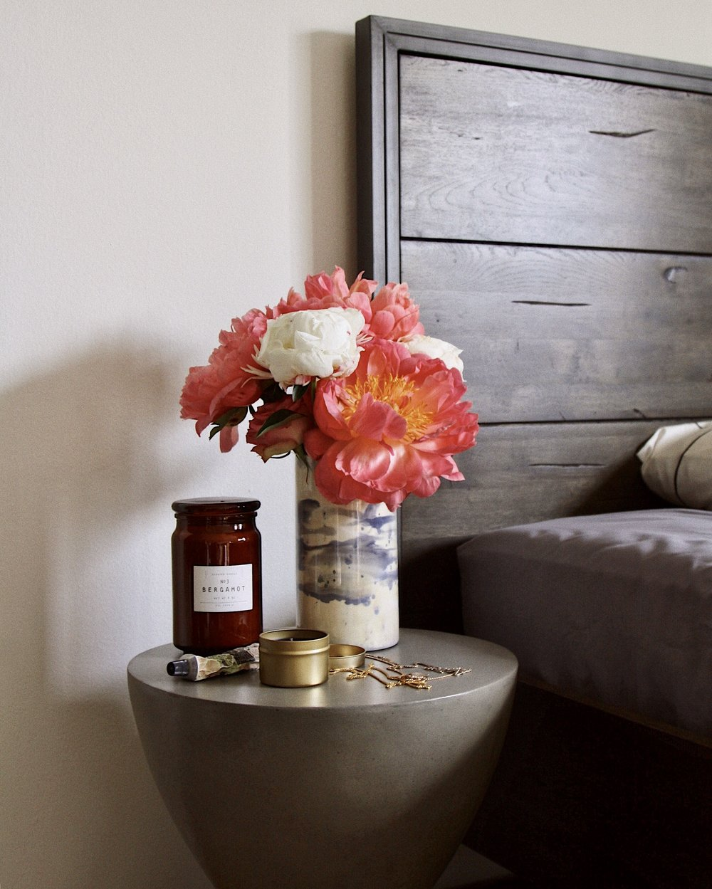 Feather  Miombo Side Table  and  Parula Bed Frame