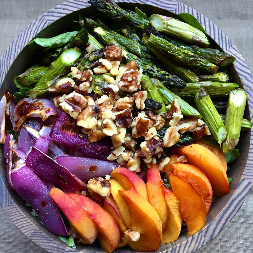Roasted Peach & Asparagus Qunioa Salad