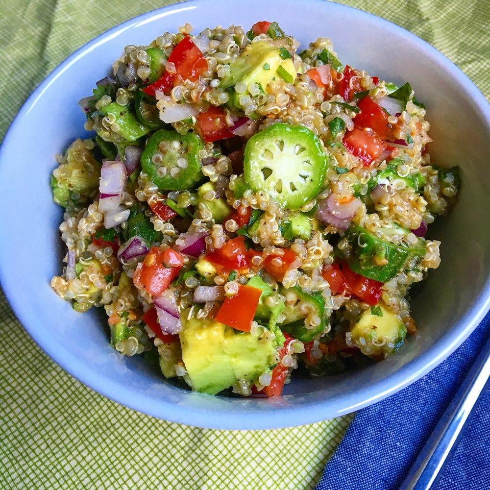Okra Avocado Quinoa Salad