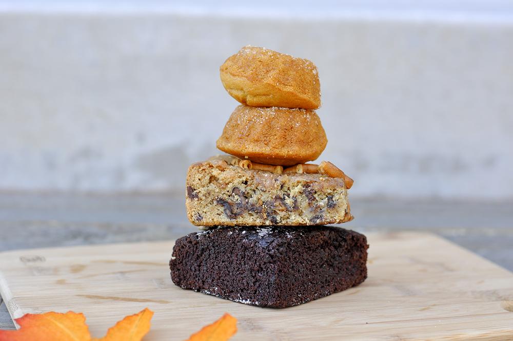 Vanilla donuts (info below) - top, salty pretzel chocolate chip bar (gf, df, sf, nf yeast free, vegan)- middle, award winning brownie (gf, df, sf, nf, vegan) - bottom