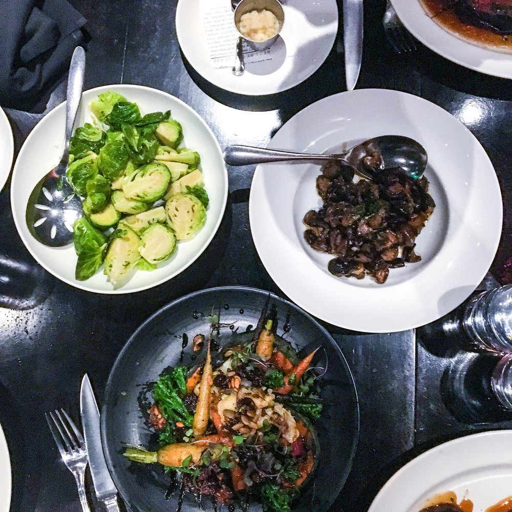 Brussels Sprouts, Sauteed mushrooms, and the vegetarian entree.