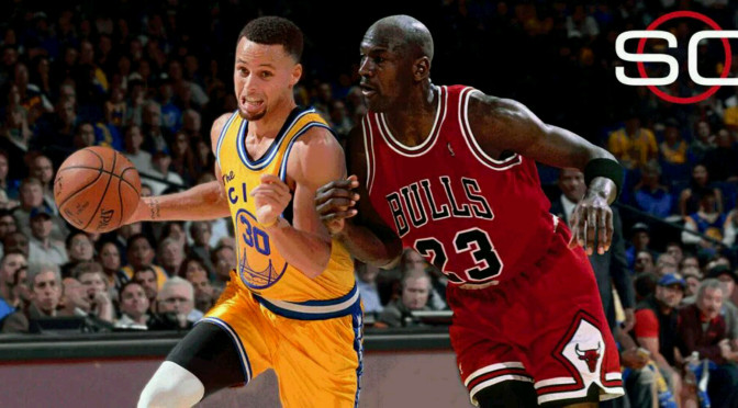 This is never going to happen, Steph Curry against Michael Jordan. Even if it did, you would have to decide which era it is happening in, and that would slide the odds in favor of one of them and not the other. All you can say is that they are the best teams of their respective eras. That much we know for sure.