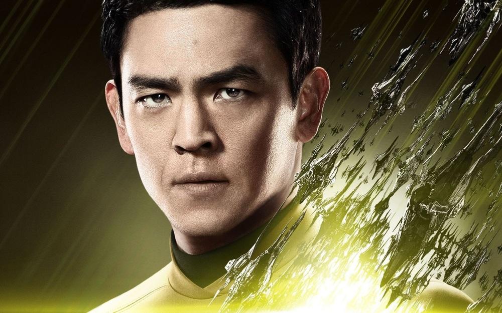 John Cho as Hikaru Sulu, the first LGBT major cast member of Star Trek.