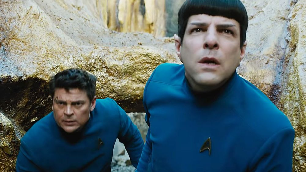 Karl Urban (left) and Zachary Quinto (right) as classic frenemies Doctor McCoy and Mister Spock, show us that great dynamic in spades here in Star Trek Beyond.