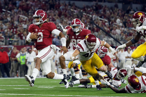 Alabama true freshman QB Jalen Hurts got past a fumble and an interception to score four total touchdowns in the Crimson Tide's obliteration of USC, 52-6.