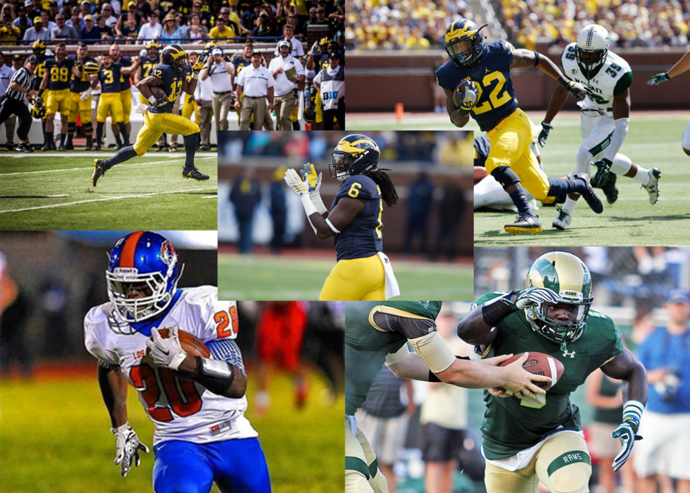Michigan's potential stable of running backs for 2017: Chris Evans (top left), Karan Higdon (top right), Kareem Walker (center), commit O'Maury Samuels (bottom left), commit Kurt Taylor (bottom right).