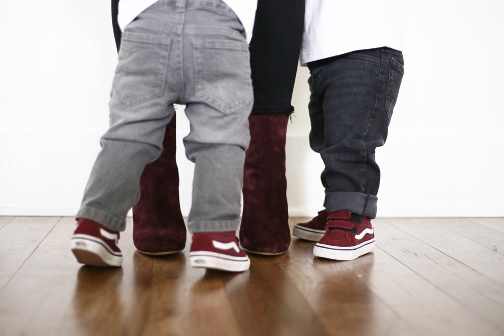 toddler  vans  | burgundy  booties  65% off! | toddler  denim  | photo: Sydney Clawson