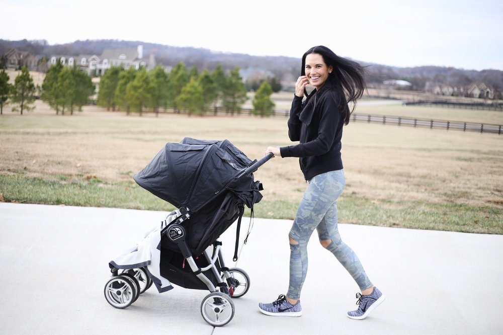 City Mini Stroller | Nike sneakers | leggings | Jumper similar | photo: Sydney Clawson