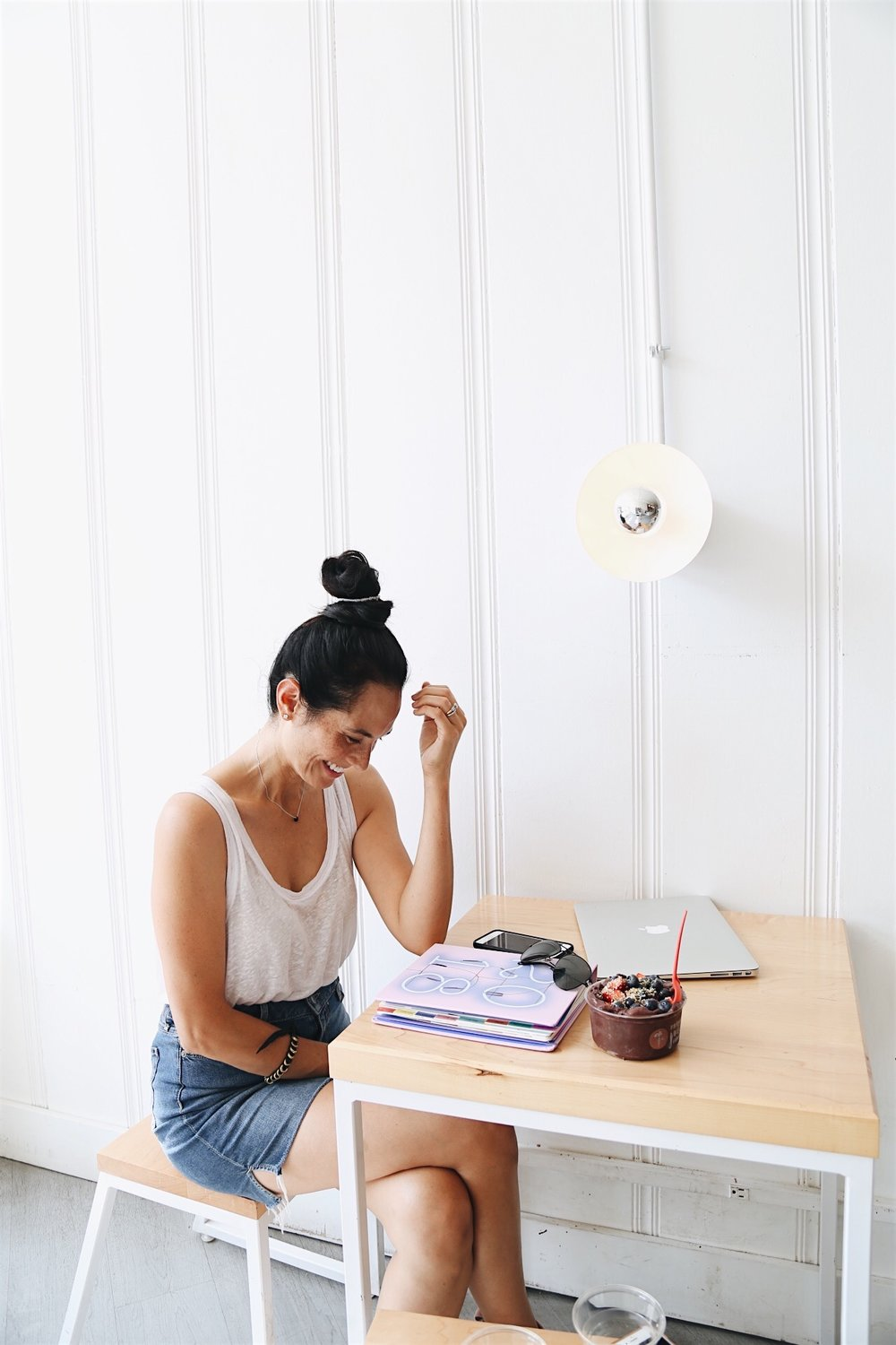 |  denim skirt  |   white tank  |  planner  |  sunnies  | image by sydney clawson |