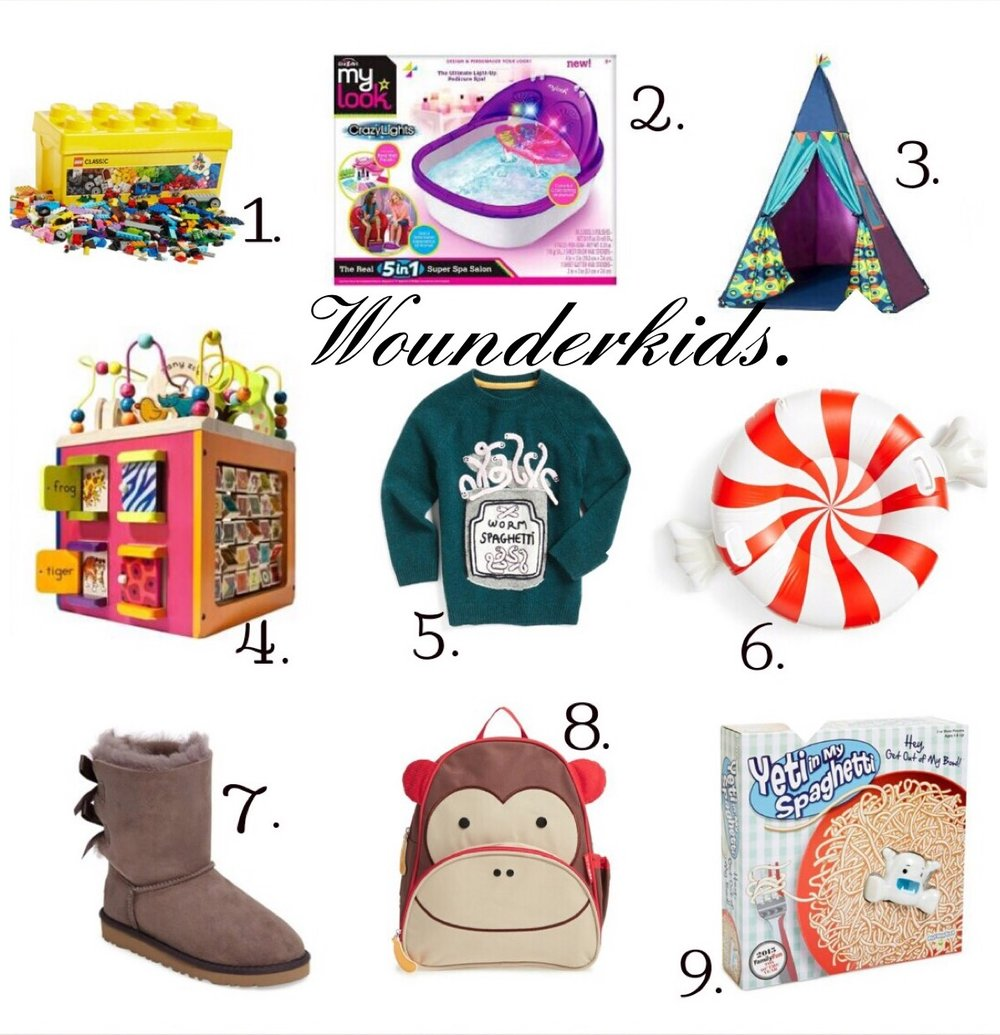 1. Lego Classic Medium Creative Brick Box 10696  www.nordstrom.com  2. My Look Super Spa Salon  www.target.com  3. B. Children's TeePee Tent (Sea)  www.target.com  4. B. Zany Zoo Wooden Activity Cube  www.target.com  5. Mini Boden X Roald Dahl Worm Spaghetti Sweater (Toddler Boys, Little Boys and Big Boys)  www.nordtrom.com  6.BigMouth Inc. Giant Peppermint Twist Snow Tube  www.norstrom.com  7. UGG 'Bailey Bow' Boot (Walker, Toddler, Little Kids and Big Kids)  www.nordstrom.com  8. Skip Hop 'Zoo' Safety Harness Backpack (Kids)  www.nordstrom.com  9.Patch Product Yeti In My Spaghetti Board Game  www.target.com