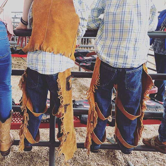 My little Texans waiting for their last Mutton Bustin ride. #rodeohouston #houston #cowboys #mutton