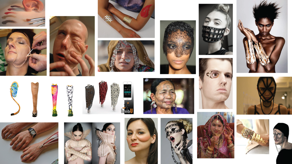 Mood board of prosthetic equipment, techniques and body adornments