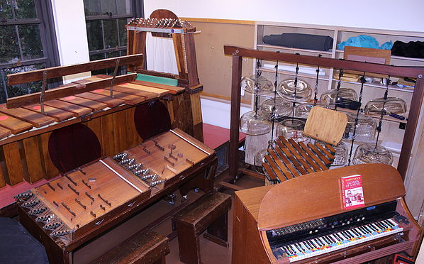 Some of the Partch instruments, now in residence at the University of Washington, Seattle