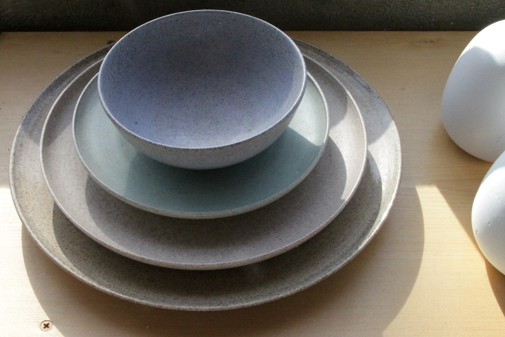 Original dinnerware set thrown by Edith Heath. Studio of Tung Chiang/Heath Clay Studio. San Francisco, CA.  2014