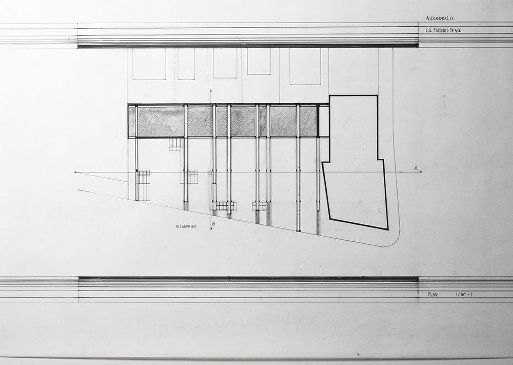 plan  indoor-outdoor flexible use space  undergraduate studio work, uc berkeley  2002