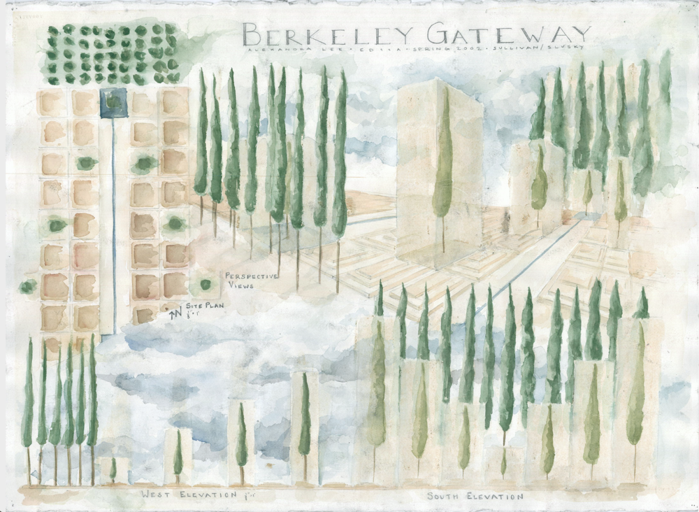 plan, elevation, and perspective drawing overlaid by watercolor