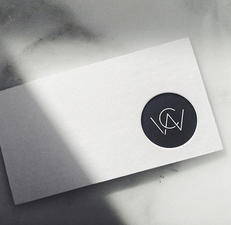 CWA branding by Danny Carlsen.      Business Card - Embossed logo on 600 GSM white matt stock .