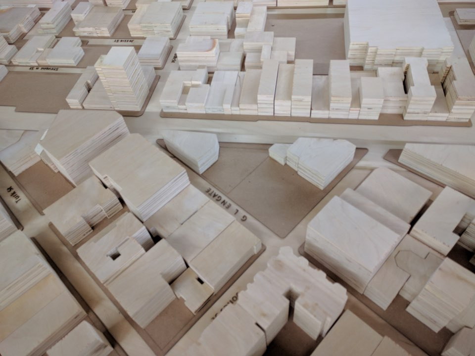 Using wood, the students created a model of the entire Tenderloin. 1028 Market St., the site they took on, is blank.