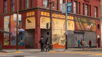 """Windows into the Tenderloin"" mural at Golden Gate & Jones. (Photo: Mona Caron)"