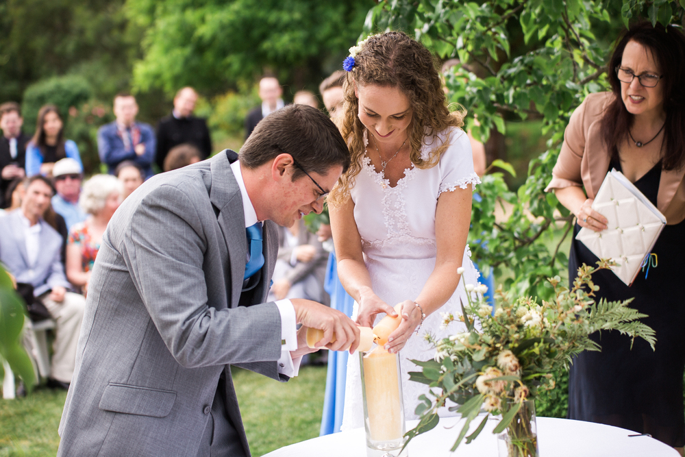 Ritual of Lighting a Marriage candle from two individual candles (Tess & James 2015)