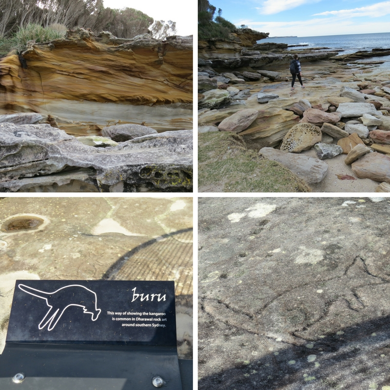 Rocks, Amy walking on rock formations and Dharawal Aboriginal engravings