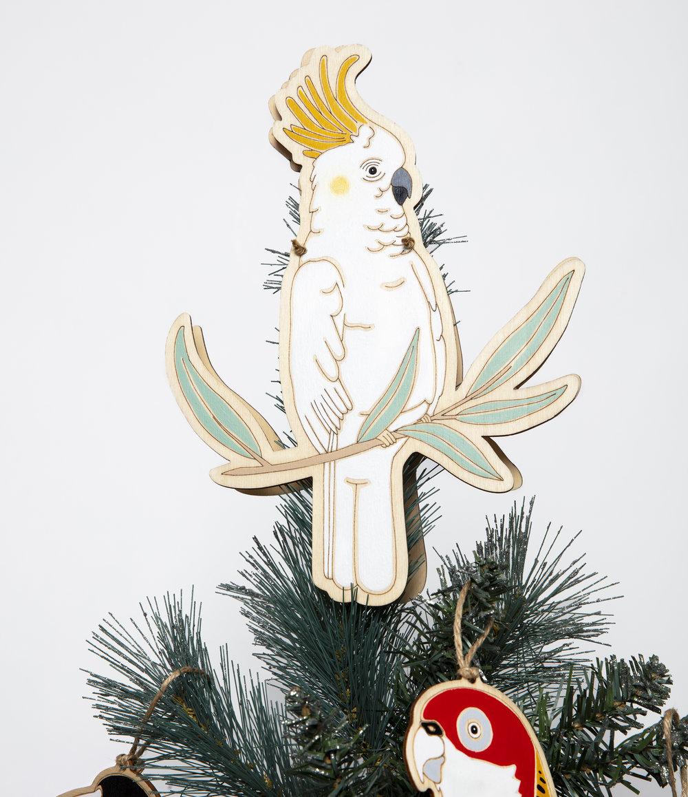 Sulphur-Crested Cockatoo Tree Topper - On Tree