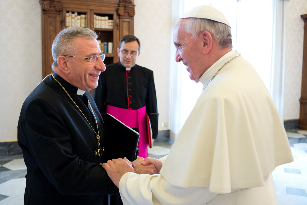 Rt. Rev. Dr Munib A. Younan and Pope Francis (credit: L'Osservatore Romano)