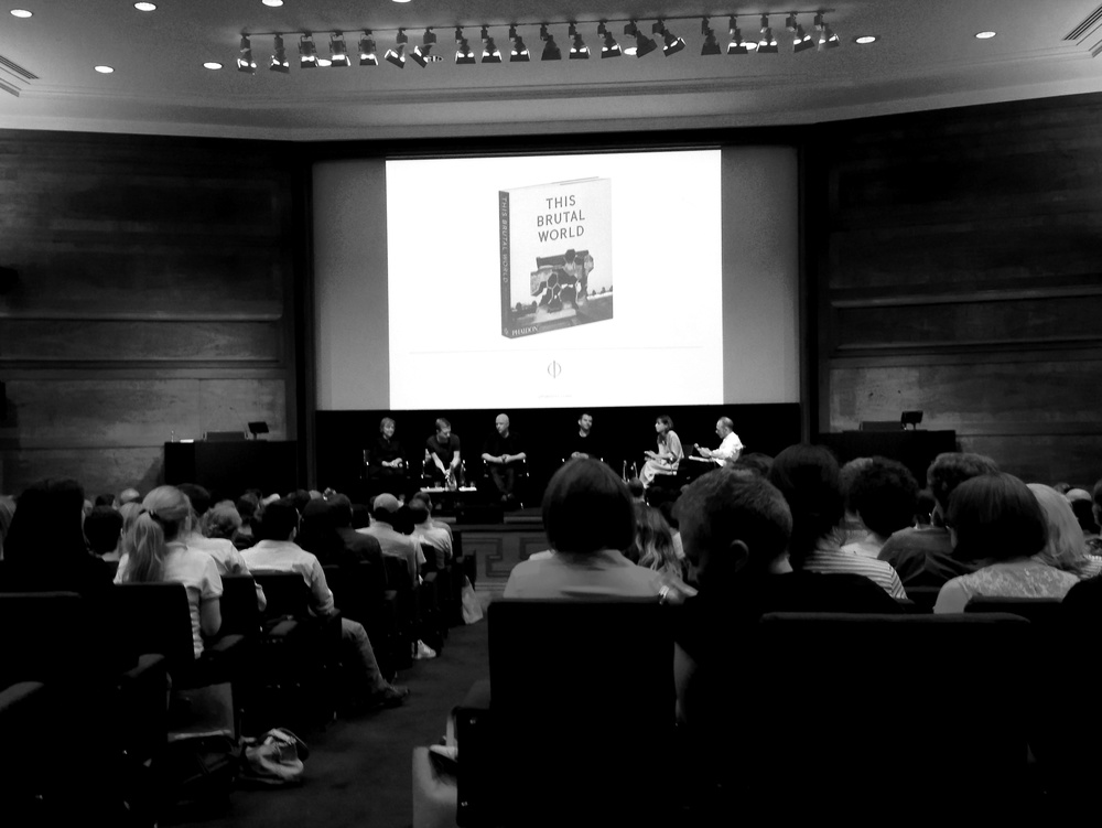Panel discussion chaired by Virginia McLeod (Commissioning Editor at Phaidon) with Peter Chadwick (author This Brutal World), Jane Hall (Assemble), Tom Cordell (director, Utopia London) and Douglas Murphy (author, Last Futures: Nature, Technology and the End of Architecture) - Tuesday, 7/6/2016 at RIBA, London.